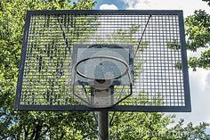 Basketball basket in the park. Outdoor place to play basketball.