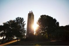 Sunset on Camponile Hill at the University of Kansas.