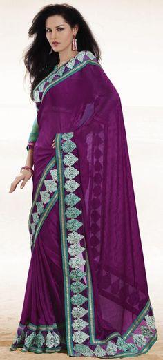 $70 Purple Embroidery Silk Party Wear Saree 23001