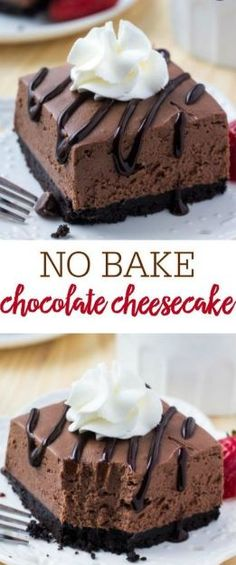 These easy, no bake chocolate cheesecake bars are perfectly creamy with a crunchy Oreo cookie crust and perfect to enjoy all year long! These easy, no bake chocolate cheesecake bars are perfectly creamy with a crunchy Oreo cookie crust. No Bake Chocolate Cheesecake, Cheesecake Bars, Simple No Bake Cheesecake, No Bake Cheescake, Chocolate Cheesecake Cupcakes, No Bake Chocolate Desserts, Baking Chocolate, Raspberry Cheesecake, Pumpkin Cheesecake