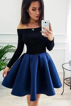 Buy Long Sleeve Off the Shoulder Satin Royal Blue Homecoming Dresses Short Prom Dresses online.Shop short long ombre prom, homecoming, bridesmaid evening dresses at Couture Candy Cocktail party dresses, formal ball gowns in ombre colors. Dresses Short, Hoco Dresses, Dresses For Teens, Simple Dresses, Elegant Dresses, Sexy Dresses, Wedding Dresses, Formal Dresses, Summer Dresses