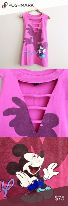 90s / Mickey Ladder Tank Hot pink Mickey Mouse tank with ladder detail. Has a long slim fit. One of a kind!  BRAND: Mickey Unlimited MATERIAL: 100% cotton YEAR/ERA: 90s LABEL SIZE: - BEST FIT: M/L  MEASUREMENTS: Chest 20 in Length 28 in  *Listed as LF for views. *Price firm unless bundled.  → Style inspiration: Chloe Sevigny, 2014 ☒ I do not model or trade, sorry! ❁ Check out my closet for more vintage! LF Tops Tank Tops