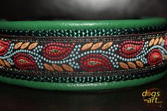 Handmade Leather Dog Collar LEAVES by dogs-art by dogsartcollars