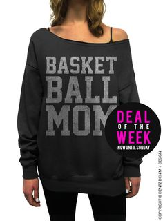 Basketball Mom - Black with Silver Slouchy Oversized Sweatshirt #mom #mothersday #gift #idea