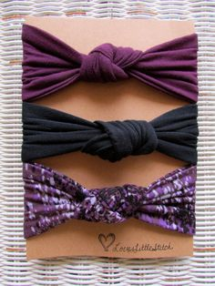 10% off for the month of July with PromoCode JULY2014 Top Knot Headbands- Set of 3 Headbands Black, Purple and Multicolor- Jersey Knit Knot Tie Baby Headbands