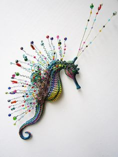 this lovely creature is not my work, but it shows you out of the box thinking. Seahorse art wall sculpture by artistJP on Etsy