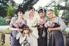 Gorgeous dark grey bridesmaids