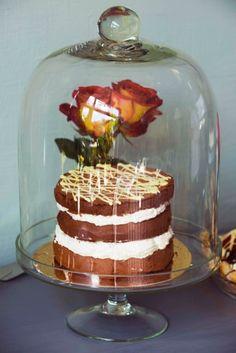 Chocoladetaart met witte chocolademousse.