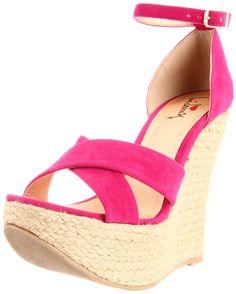 Luichiny Women's RE Lax Wedge Sandal-Fuchsia