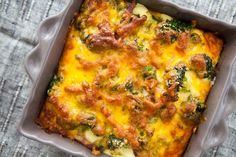 Broccoli Cheddar Casserole ~ Best broccoli cheese casserole ever. Broccoli florets, blanched and baked with bacon and cheddar cheese in a milk, cream, and egg custard, spiced with black pepper. ~ SimplyRecipes.com