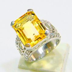 CITRINE 12.6 CARAT & ZIRCON NATURAL GEMSTONE RING IN 925 STERLING SILVER JEWELRY