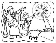 Christmas sunday school coloring pages Nativity Coloring Pages, Bible Coloring Pages, Christmas Coloring Pages, Coloring Pages For Kids, Coloring Book, Preschool Christmas, Kids Christmas, A Christmas Story, Christmas Colors