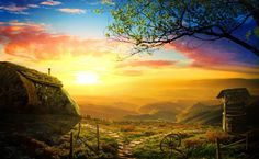 Create a Beautiful Sunrise Scene with an Old House - https://wp.me/p4R2sX-2F4