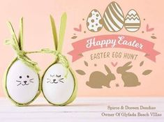 Wishing all client Happy Easter! Beach Villa, Egg Hunt, Happy Easter, Villas, Easter Eggs, Place Card Holders, Christmas Ornaments, Holiday Decor, Happy Easter Day