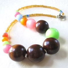 Wood Glass Statement Necklace by guarnaccia on Etsy