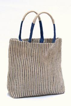 Jute Shopper | Indigo Stripes | The Dharma Door | Salt Living  #fairtrade #jute #bag