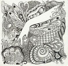 Inches, Ink & Graphite on Zentangle