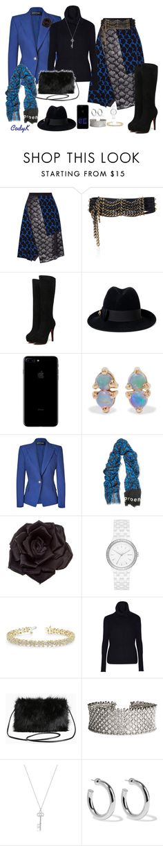 """Royal Blue & Black"" by cody-k ❤ liked on Polyvore featuring Tanya Taylor, Lanvin, Gucci, WWAKE, Balmain, Proenza Schouler, Johnny Loves Rosie, DKNY, Allurez and Autumn Cashmere"