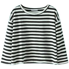 Choies Black And White Stripe 3/4 Sleeve Cropped T-shirt ($14) ❤ liked on Polyvore featuring tops, t-shirts, shirts, choies, striped, black, black t shirt, t shirts, black and white striped tee and 3/4 sleeve t shirt