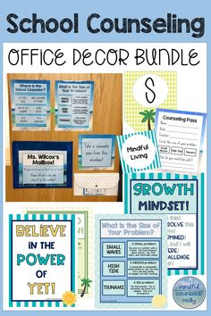 This School Counseling Office Decor Bundle includes door decor office posters book bin labels pennant flags counseling passes and size of problem posters! Counseling Bulletin Boards, School Counseling Office, Counseling Activities, School Counselor, School Office, High School, Book Bin Labels, World History Teaching, Character Education