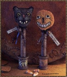 Black Cat Jack Primitive Halloween Original Punch Needle JOL Noisemakers | eBay