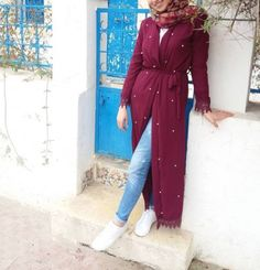 Open dress with jeans hijab style – Just Trendy Girls