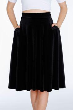Staple- Velvet Black Pocket Midi Skirt ($89AUD) by BlackMilk Clothing