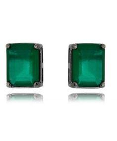 brinco pequeno rodio negro com pedra verde