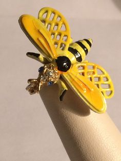 Black & Yellow Enamel Bee With Clear Rhinestone Head & Blue Eyes Pin Signed ART   Jewelry & Watches, Vintage & Antique Jewelry, Costume   eBay!