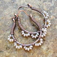Ruffle Bottom Hoops  pearly white and antiqued by BearRunOriginals