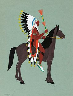 Spencer Asah worked with Mopope on murals for the Anadarko Post Office, rendering this colorful depiction of a mounted chief. kp