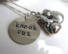 """Silver boxing necklace with sterling silver hand stamped """"knock out"""" charm and boxing gloves charm"""