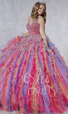 Long V-Neck Quince Gown by House of Wu at PromGirl.com #promgirl #quinceanera #gown