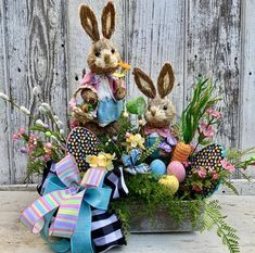 Easter centerpiece created by Trendy Tree customer, Twisted Twigs Decor. It's for sale in her Etsy s Easter Bunny Decorations, Easter Wreaths, Easter Decor, Holiday Decorations, Spring Wreaths, Easter Ideas, Twigs Decor, Wreath Making Supplies, Diy Ostern
