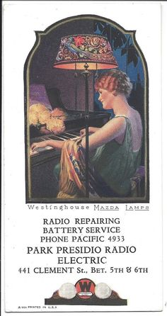 Illustrated Advertising Blotter, Westinghouse Mazda Lamps, c1920s