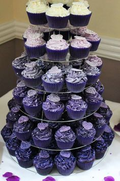 For Mel & Adam - A closer view of their Cadbury Purple to Ivory ombre cupcake tower in different flavours.