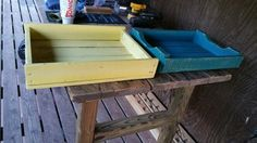Fun summer colors. This will be part of a planter stand.