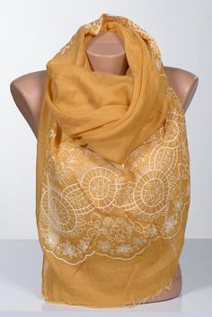 YELLOW and White big scarf or Shawl. Scarf wrap. by scarfstore2012