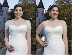 Such a pretty plus size wedding dress! I love that it comes with a detachable tulle wrap.