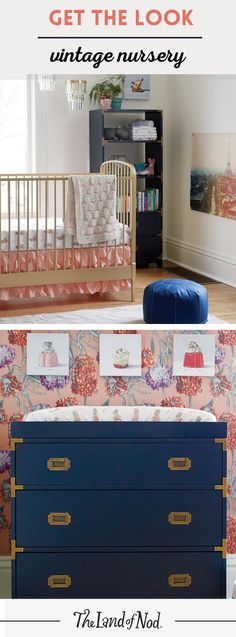 Need help designing a vintage nursery? Step outside the box and try a rustic-chic look with lots of prints, navy hues and colors. Perfect for girls and boys, our nursery idea features a space-saving dresser that converts to a changing table and a bold, gold crib. Baby will love to stay cozy in a bright and inspiring nursery filled with vintage-inspired furniture and decor.