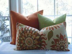 Decorative Pillow Cover--Suzani Tribal -14 X24 Designer Fabric -Orange Lumbar Throw Pillow---Spice Colors--Woven Jacquard. $46.95, via Etsy.