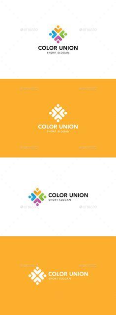 Color Union Logo: Abstract Logo Design Template created by savigmusic. Logo Design Template, Logo Templates, Business Brochure, Business Card Logo, Logos Photography, Union Logo, Logos Vintage, Logos Ideas, Book Logo
