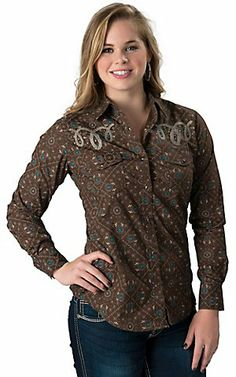 4a13f3b4943ac Cowgirl Hardware® Women s Brown with Turquoise Paisley Print and Rope  Embroidery Long Sleeve Western Shirt
