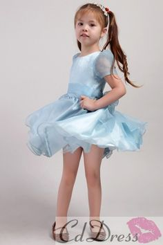 So cute! Lovely Ball Gown Scoop Knee-length Satin and Organza Short Sleeves Flower Girl Dress - Flower Girl Dresses - Wedding Party Dresses - CDdress.com $62