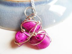 Silver necklace with pink stones and beads, wire jewelry, unusual by SelmaDreams on Etsy