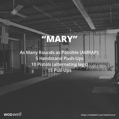 As Many Rounds as Possible (AMRAP) in 20 minutes: 5 Handstand Push-Ups; 10 Pistols (alternating legs); 15 Pull-Ups