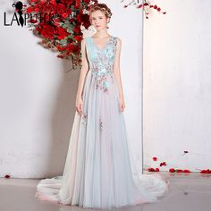 631aa2639366 Aliexpress.com   Buy 2017 Real Photo Vestidos De Festa Fairy V neck  Colorful Embroidery Lace Flowers Tulle Long A line Pageant Prom Evening  Dresses from ...