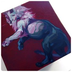 :Illustration:Gallery:Concept: by J.A.W. Cooper: Raspberry lion done... 2 sides down on a 6-sided wooden cube, 4 sides to go! #JAWCooper #oilpainting @bakerhesseldenz #bakerhesseldenz