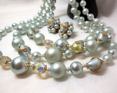 Vintage Silver Blue Beaded Necklace/Earrings BRIDE 50 60s Fashion by JewlsinBloom on Etsy