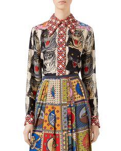 GUCCI Tiger Face Printed Silk Shirt, Multi Pattern. #gucci #cloth #